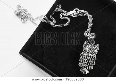 Silver owl pendant on a chain in black jewel box
