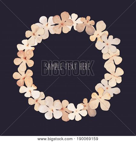 Pressed and dried flowers wreath isolated on white blue background. For use in scrapbooking floristry or herbarium.