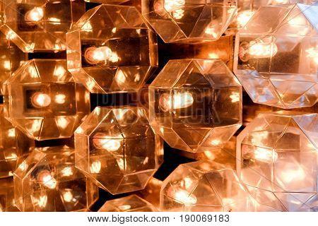 classic vintage orange crystal lamp, crystal background