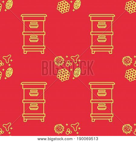 Apiary and beekeeping. Beautiful seamless pattern in a linear style. Bee houses, beehives and pollen on an orange background. Texture for scrapbooking wrapping paper textiles web page, surface design,