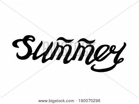 Summer- Isolated Hand Drawn Lettering. Vector Illustration Quote. Handwritten Inscription Phrase for Office, Presentation, T-shirt Print, Poster, Cover, Case Design.