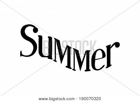 Summer - Isolated on White Background Hand Drawn Lettering. Vector Illustration Quote. Handwritten Inscription Phrase for  T-shirt Print, Poster, Cover, Case Design, Sale, Banner, Invitation.