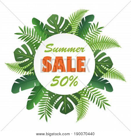 Sale banner or poster with palm leaves. Trendy Summer Tropical Leaves. Vector tropical background with exotic palm leaves and plants.