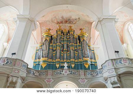 Vilnius, Lithuania - May 05, 2017: Musical Organ Inside The Church Of St. Johns (vilnius University
