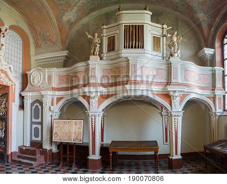 Vilnius, Lithuania - May 05, 2017: Musical Organ Inside The Chapel Of St. Johns Church (vilnius Univ