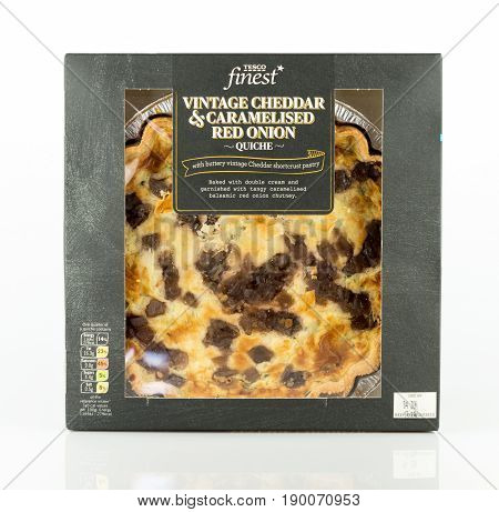 Tesco Finest Vintage Cheddar And Caramelised Red Onion Quiche.