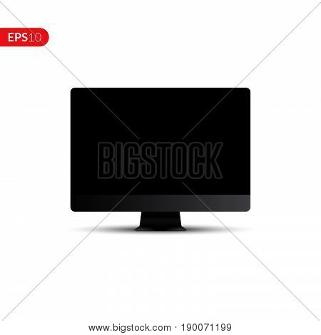 Computer display isolated vector realistic design on white background. Electronic screen monitor gadget mockup for banner or advertising.