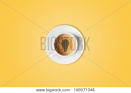 Lightbulb in cup of coffee. Brain storm, idea concept or coffee-break.