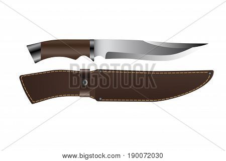 Realistic hunting knife with wooden handle and lather scabbard. Isolated on white background. Vector illustration EPS 10.