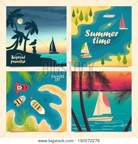 Set of retro tourist posters. Boats at sea, view from the shore or from above. Day and sunset views. Summer vacation trips. Vector illustration.