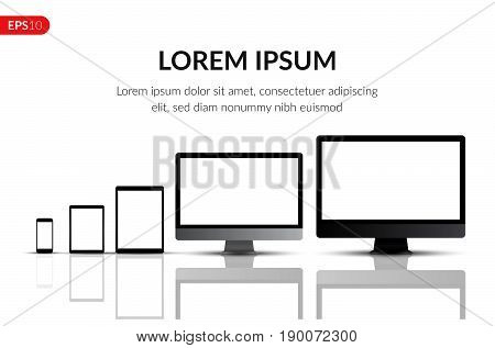 Computer monitors, laptops, tablets and mobile phones realistic vector design template. Electronic gadgets isolated on white background with text for advertising or banner.