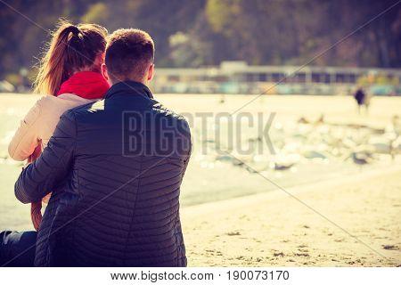 Happy Couple Having Date On Beach