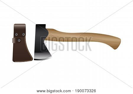 Realistic hunting and travel ax with leather sheath isolated on white background. Vector illustration EPS 10.