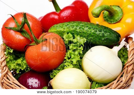 Organic Food Concept, Lettuce, Tomatoes, Onions, Peppers, Cucumber In Basket