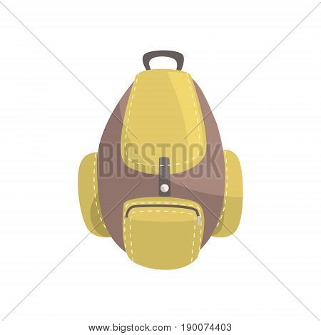 Khaki and brown backpack, classic styled rucksack vector Illustration isolated on a white background