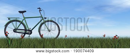 Green gentle bicycle on the grass with flowers by day - 3D render