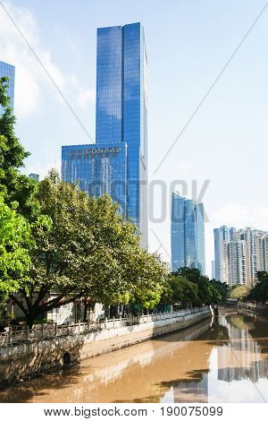 Towers On Quay In Guangzhou City In Spring