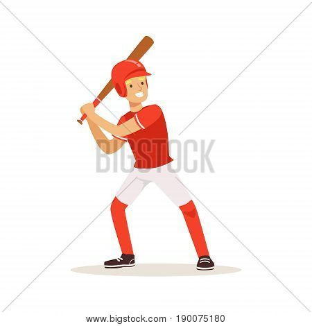 Baseball player in red uniform swinging with bat vector Illustration isolated on a white background