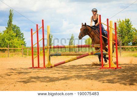 Jockey Young Girl Doing Horse Jumping Through Hurdle
