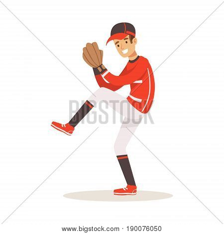 Baseball player in a red uniform pitching vector Illustration isolated on a white background
