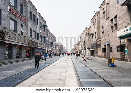People On Central Pedestrian Street Qianmen