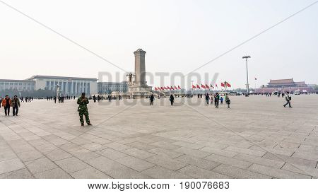 Panorama Of Tiananmen Square With Visitors