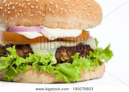 Lentil Burger Preparation : Lentils cheeseburger on white background