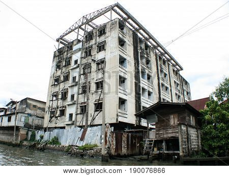 Life in the slums of Bangkok,Thailand, river. poornes concept