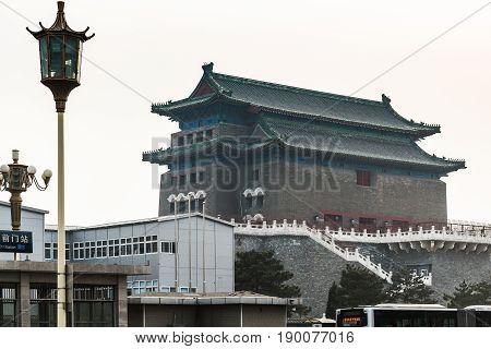 View Of Beijing Archery Tower In Gate Zhengyang