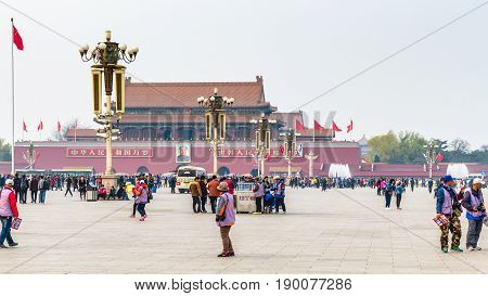 Tourists And View The Tiananmen Monument