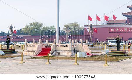 Guard Of Honor Near Flagpole On Tiananmen Square