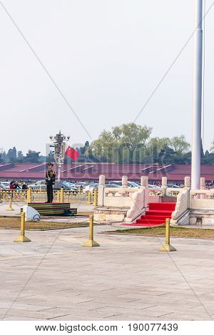 Guard Of Honor Near State Flagstaff On Tiananmen
