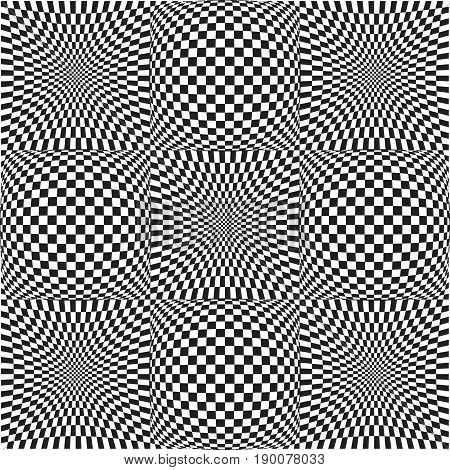 Vector 3d abstract pattern. Optical illusion. Distorted chess.