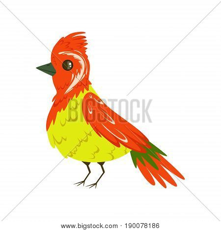Bright colorful bird with a tuft vector Illustration isolated on a white background