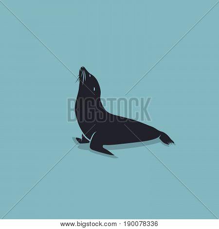 Sea Lion symbol on a blue Background. Vector element