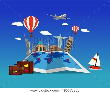 Travel Around the World. Landmark architecture of the world. Vector travel concept