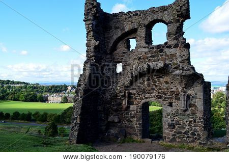 Ruins of St Anthony's chapel in Edinburgh Scotland.