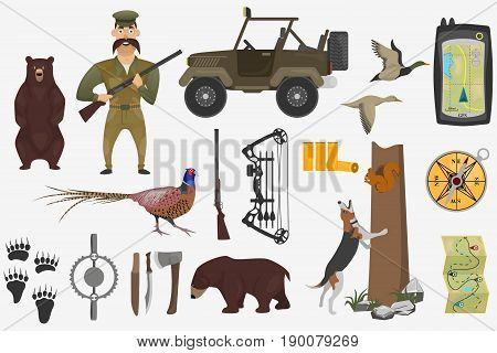 Set of hunting illustrations in cartoon style. Hunter and firearms, hunting bows and car for hunter. Ammunition of professional hunter.