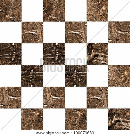 Grunge textured abstract checkered seamless pattern. Checkered finish flag painted with acrylic and oil paints in shades of brown and gold on canvas. Rows squares with distressed vintage texture