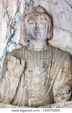 Buddha Statue In Grotto Of Longmen Caves