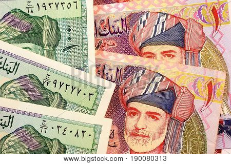Close up Omani Rial currency note OMR