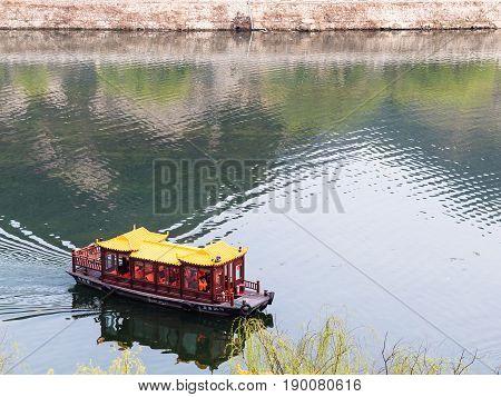 Boat On Yi River In Longmen Area