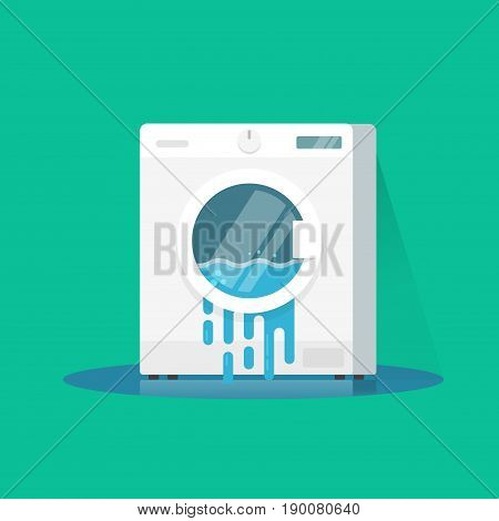 Washing machine broken vector illustration, flat cartoon damaged washer with flowing water on floor isolated on color background