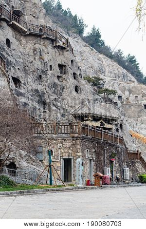 Road And Carved Slope In Longmen Grottoes