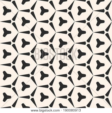Vector seamless geometric pattern. Abstract monochrome texture with triangular shapes. Hexagonal grid pattern. Stylish repeat geometrical background. Simple pattern, design pattern, decor pattern, fabric pattern, cloth pattern.