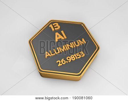 Aluminium - Al - chemical element periodic table hexagonal shape 3d illustration
