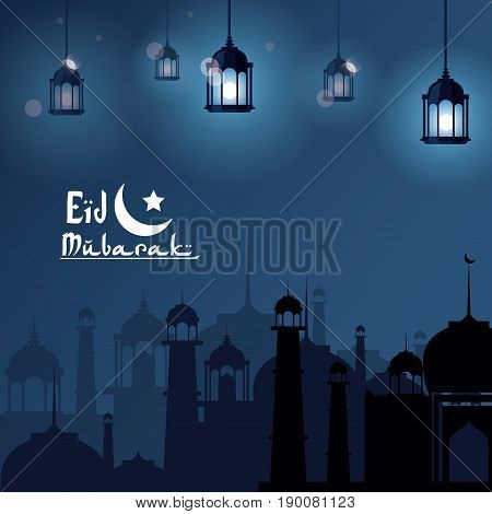 Eid Mubarak greeting with mosque and with beautiful illuminated arabic lamps with hand drawn calligraphy vector illustration
