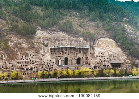 View Of Grottoes On West Hill In Longmen Caves