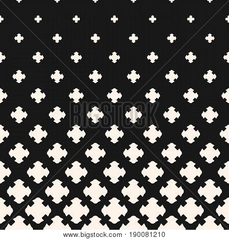 Halftone pattern. Monochrome pattern with gradient transition effect, falling geometric shapes, carved crosses. Modern abstract background. Dark design for prints, cover banner, decor, digital.