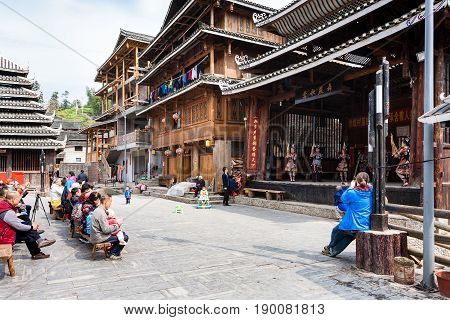 Tourists And Dong Culture Show In Chengyang